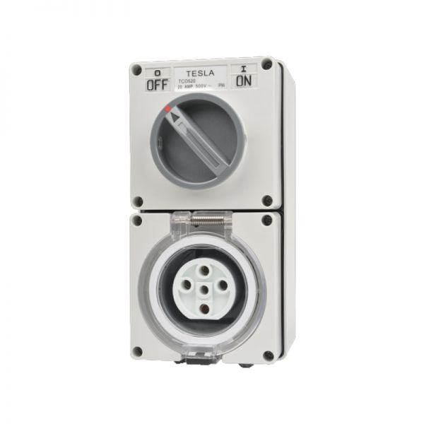Combination Switched Socket Outlet Ip66 40 Amp 5 Round Pin