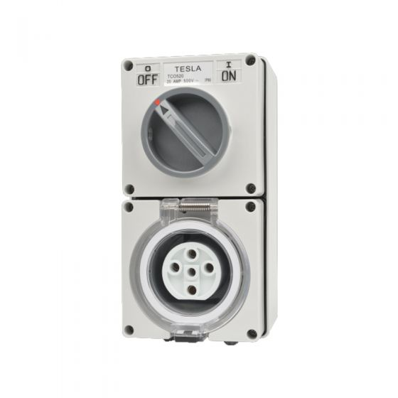 Combination Switched Socket Outlet Ip66 32 Amp 5 Round Pin